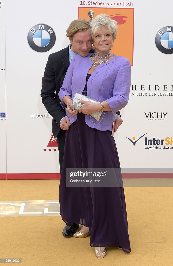 Grit Boettcher and son Tristan attend the charity event 'Die Goldene Deutschland' at MS Deutschland on May 12, 2013 in Hamburg, Germany.