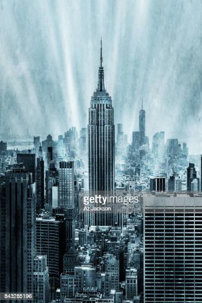A gritty vertical view of the Manhattan skyline featuring the Empire State Building and One World Trade Center