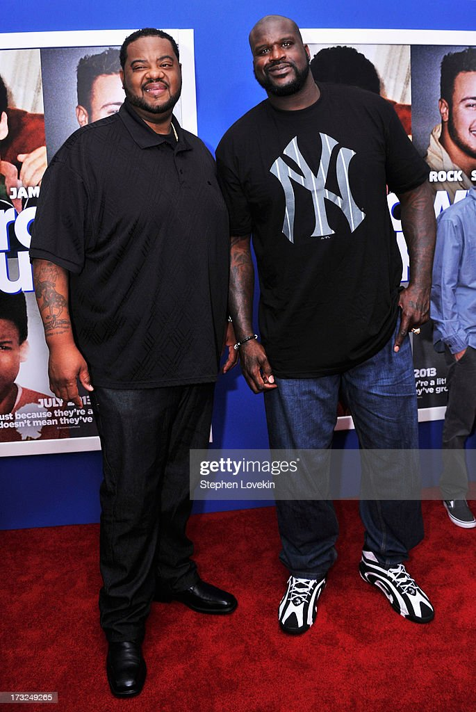 Grizz Chapman and Shaquille O'Neal attend the 'Grown Ups 2' New York Premiere at AMC Lincoln Square Theater on July 10 2013 in New York City
