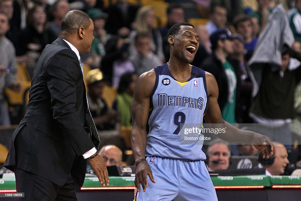 Grizzlies guard Tony Allen has a big laugh as he broke away from a hug he gave his former coach in Boston, Doc Rivers, as the final seconds ticked off the clock in Memphis' victory. The Boston Celtics hosted the Memphis Grizzlies in a regular season NBA game at TD Garden.