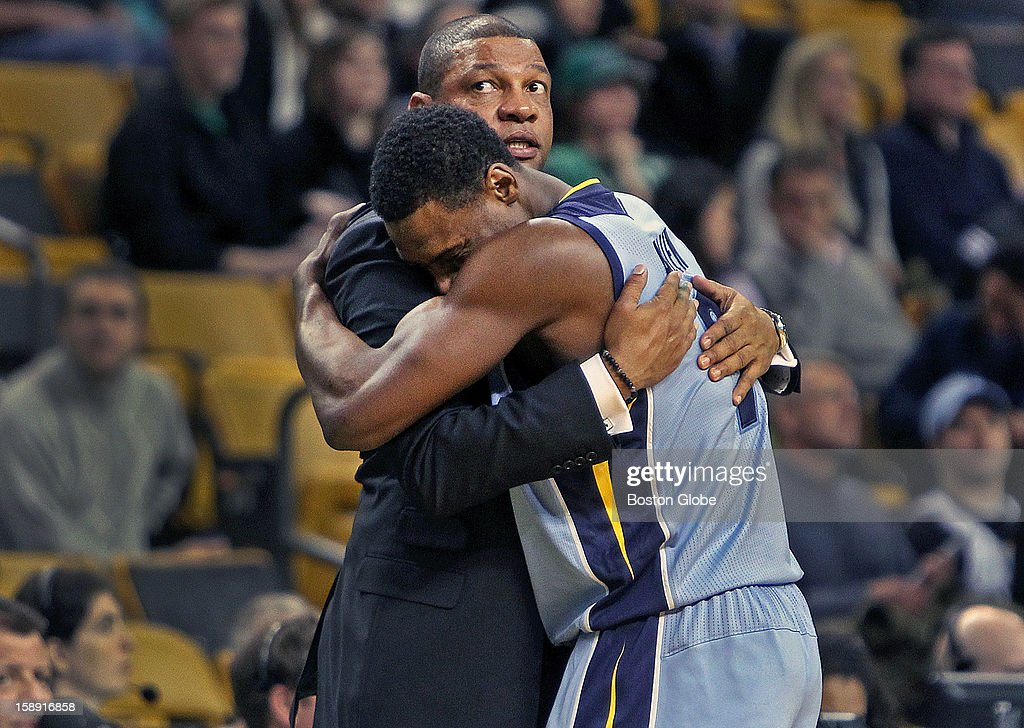 Grizzlies guard Tony Allen has a hug for his former coach in Boston, Doc Rivers, as the final seconds tick off the clock in Memphis' victory. The Boston Celtics hosted the Memphis Grizzlies in a regular season NBA game at TD Garden.