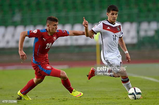 Görkem Saglam of Germany U17 challenges Matej Chalus of Czech Republic U17 during the UEFA European Under17 Championship match between Germany U17...