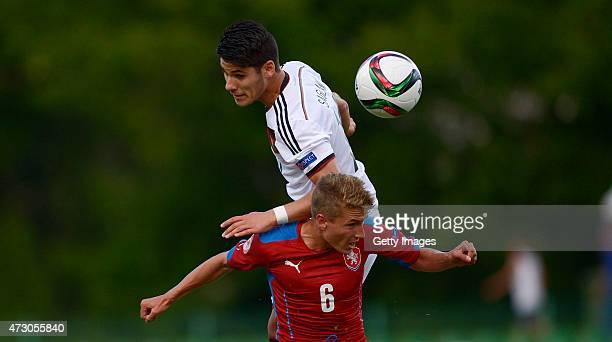 Görkem Saglam of Germany U17 challenges Michal Sadílek of Czech Republic U17 during the UEFA European Under17 Championship match between Germany U17...