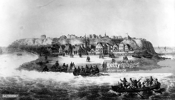 Gründung des Seebades Helgoland 1826 Ansicht der Insel ohne Landungsbrücke Stich um 1828