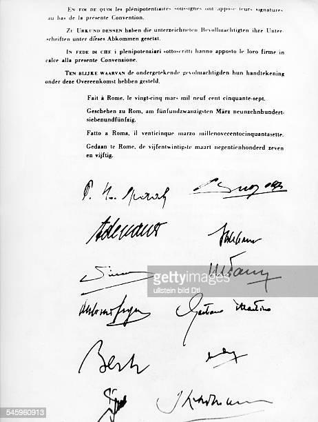 Gründung EWG / Euratom Die Unterschriften der Bevollmächtigten der sechs europäischen Staaten unter den Römischen Verträgen Paul Henri Spaak und...