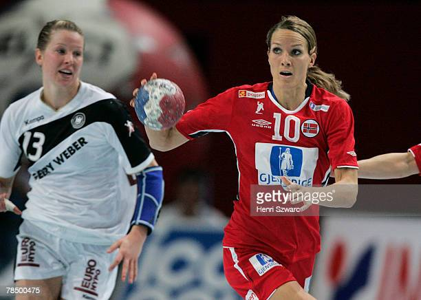 Gro Hammerseng of Norway is seen in action during the Women's Handball World Championship semi final match between Germany and Norway at the Palais...
