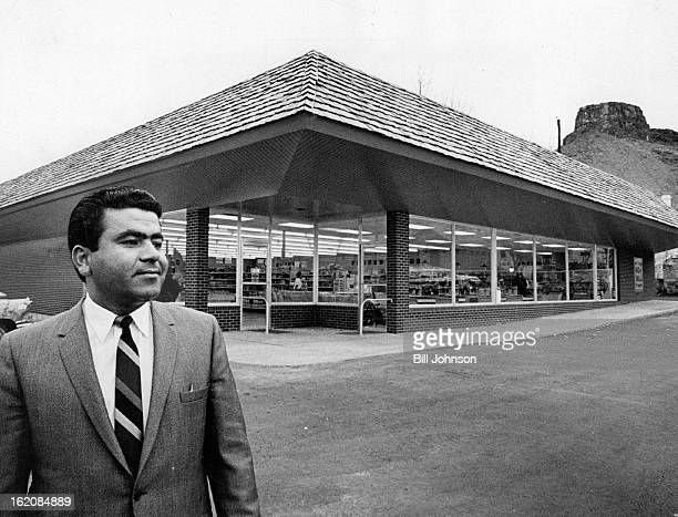 JAN 31 1965 FEB 1 1966 FEB 2 1966 Grocer Opens Golden Food King Kaiser E Morcus Denver area grocer poses before his new store in Golden the Food King...
