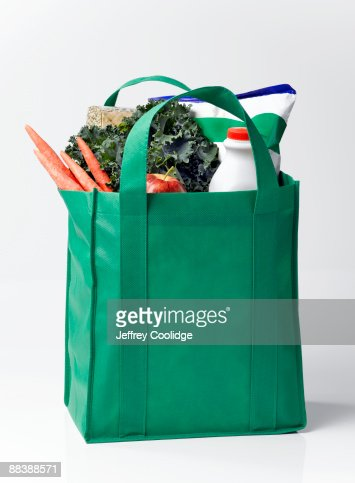 Groceries and Fresh Produce in Reusable Bag : Stock Photo
