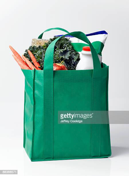 Groceries and Fresh Produce in Reusable Bag