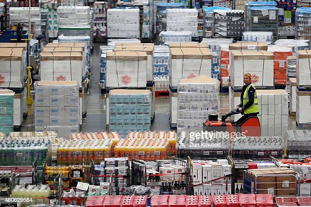 Groceries are prepared for distribution at Tesco's distribution plant on December 18 2014 in Reading England In the lead up to Christmas Tesco's...