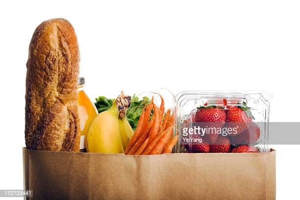 Groceries, Healthy Fresh Food in Paper Bag on White Background