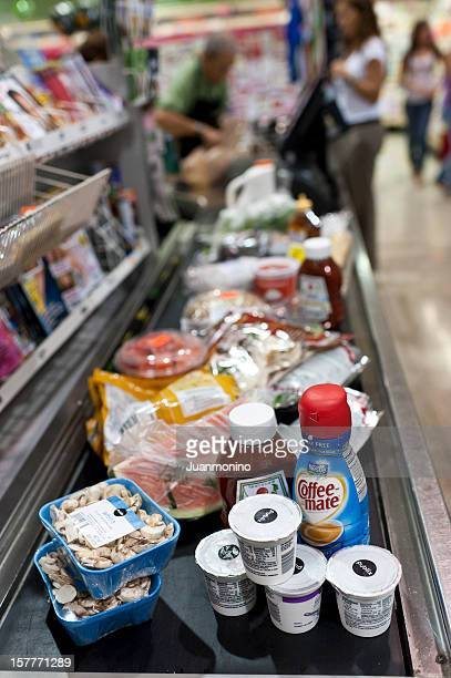 Groceries in a supermarket cashier