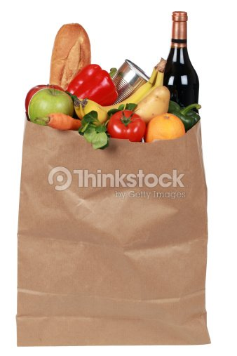 Groceries including fruits, vegetables and a wine bottle : Stock Photo