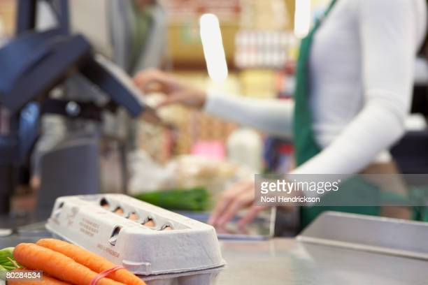 Groceries on check out counter