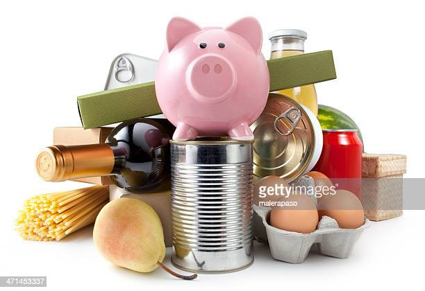 Groceries with piggy bank