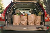 Grocery bags in car
