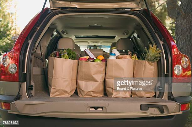 Grocery bags in car