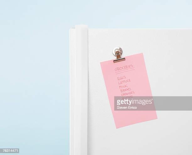 Grocery list on fridge door