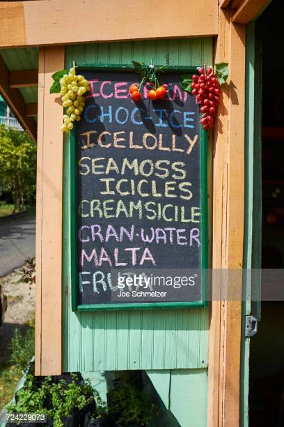 Grocery shop with chalked sign, Saint Lucia, Caribbean