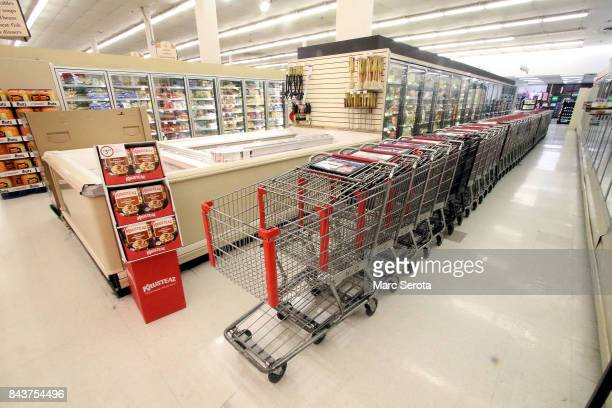 Grocery store is all but empty and the carts are all inside at the Winn Dixie in Tavernier Florida on September 7 2017 Over 25000 people have...