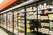 grocery store wide angle of refrigeration display