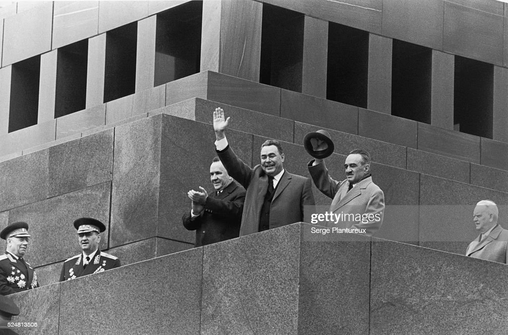 Gromyko, Brezhnev, and Mikoyan, first joint appearance at the Lenin Mausoleum.