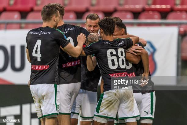 FC Groningen celebrate the goal of Ritsu Doan of FC Groningen during the First round Dutch Cup match between USV Hercules and FC Groningen at the...