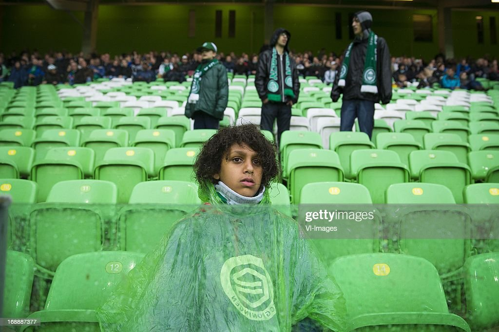 FC Groningen fan during Play Offs match during the Eredivisie Europa League Playoff match between FC Groningen and FC Twente on May 16, 2013 at the Euroborg stadium at Groningen, The Netherlands.