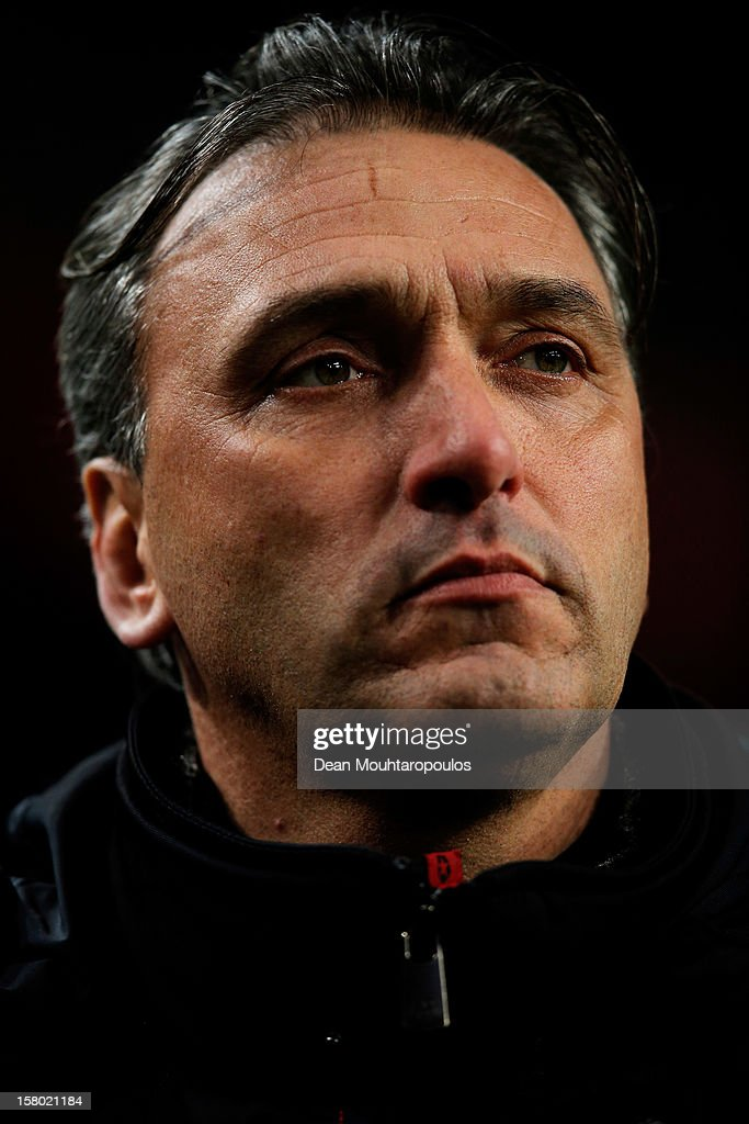Groningen Manager / Coach, Robert Maaskant looks on prior to the Eredivisie match between Ajax Amsterdam and FC Groningen at Amsterdam Arena on December 8, 2012 in Amsterdam, Netherlands.