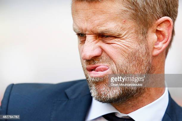 Groningen team manager Baas Rooda looks on during the Johan Cruijff Shield match between FC Groningen and PSV Eindhoven on August 2 2015 in Amsterdam...