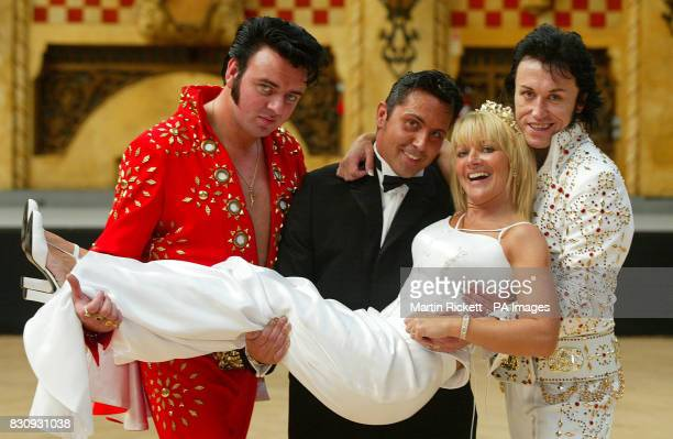Groom Dani Leighton and bride Juliette Massey both from Prestwick Greater Manchester with Elvis Tribute artists after their wedding at The Elvis...