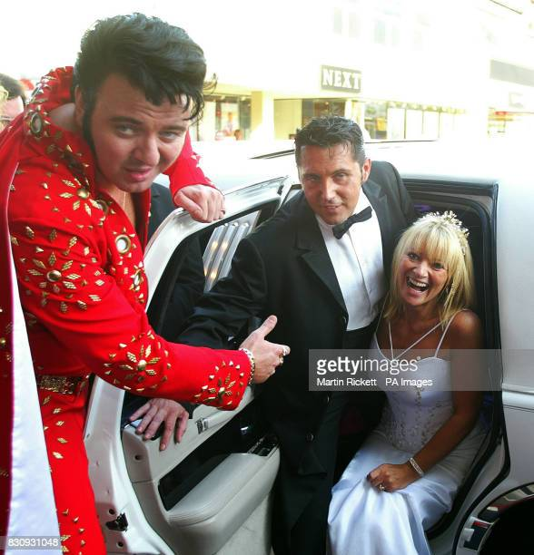 Groom Dani Leighton and bride Juliette Massey both from Prestwick Greater Manchester with Elvis Tribute artist after their wedding at The Elvis...