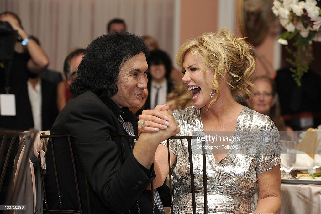 gene simmons wife wedding dress. groom gene simmons and bride shannon tweed attend their wedding held at the beverly hills hotel wife dress e