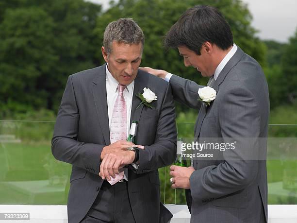 Groom looking at his watch