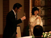 Groom Yoshiki Kuroda and bride Princess Sayako toast during their wedding ceremony at the Imperial Hotel on November 15 2005 in Tokyo Japan