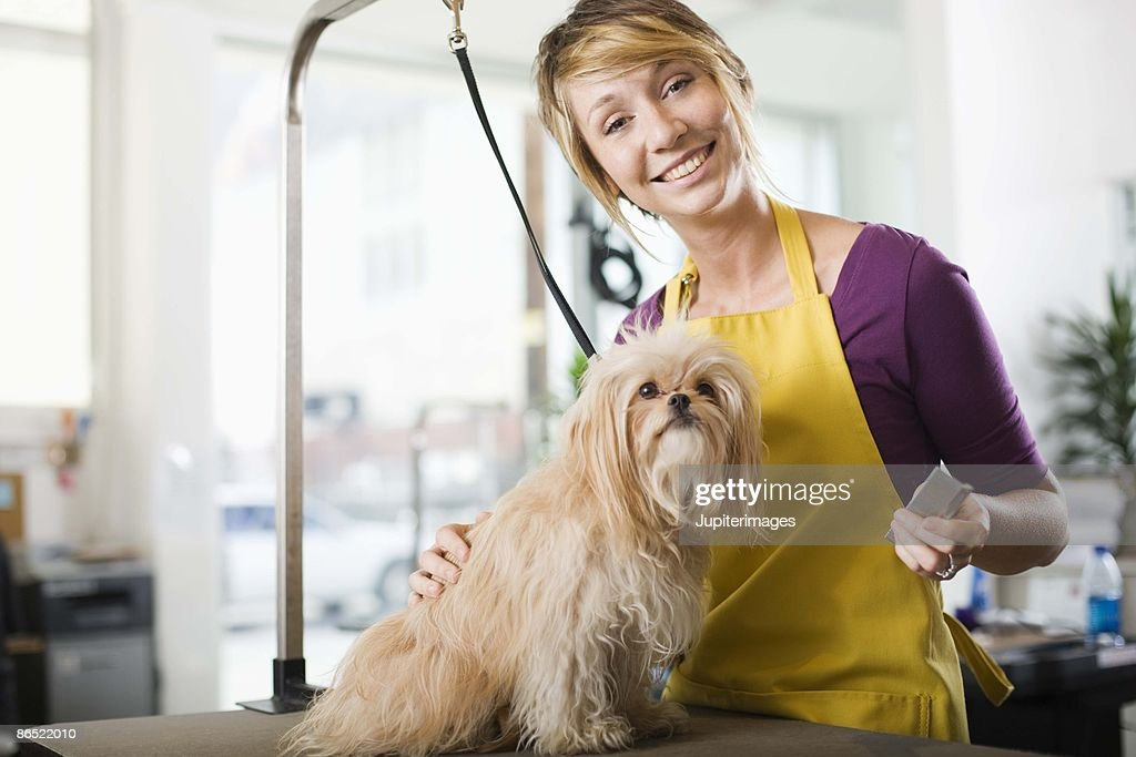 Groomer with a dog