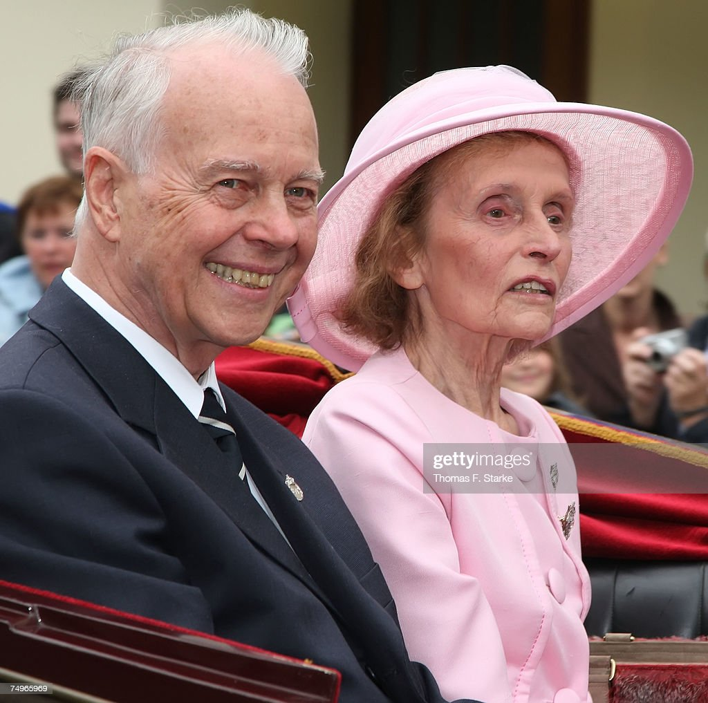 Grooms mother Princess Benita zu Schaumburg-Lippe (r) and ex minister president of Lower Saxony Dr. Ernst Albrecht attend the wedding ceremony of Prince Alexander zu Schaumburg Lippe and Nadja Anna Zsoeks at the city church on June 30, 2007 in Bueckeburg, Germany.