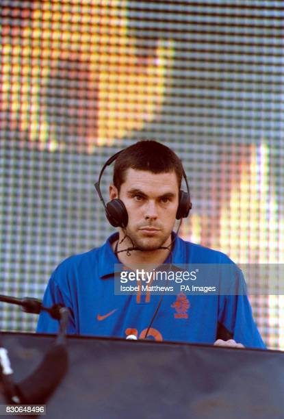 Groove Armada DJ and musician Tom performing on Brighton Beach at a free concert which is part of the Channel 4 Summer Tour Channel 4 have been...