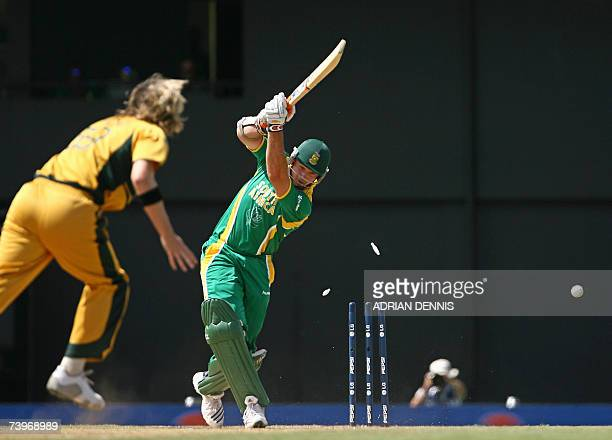 Australian cricketer Nathan Bracken clean bowls South Africa's Captain Graeme Smith during the ICC Cricket World Cup 2007 semifinal match at...