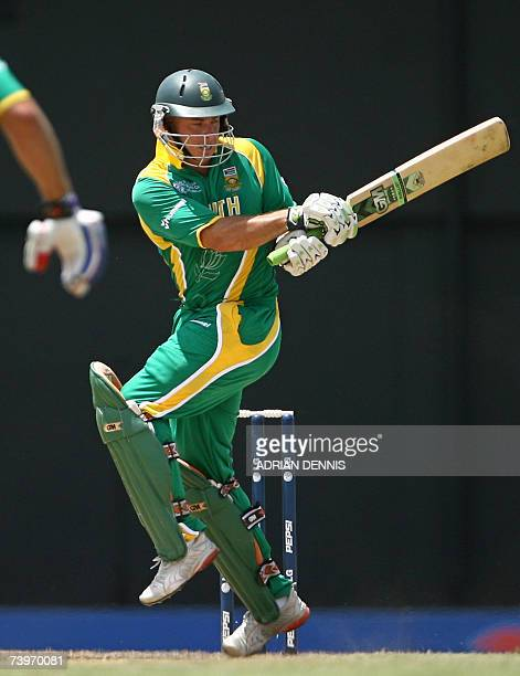South African cricketer Herschelle Gibbs plays a shot against Australia during the ICC Cricket World Cup 2007 semifinal match at Beausejour cricket...