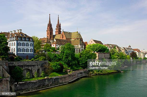 Gross Basel Muenster as seen from Wettsteinbruecke bridge, Basel, Switzerland, Europe