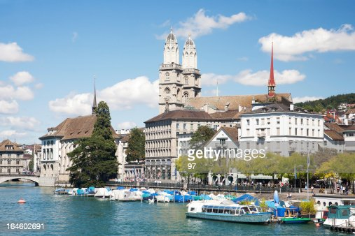 Grossmunster cathedral with river limmat.Zurich