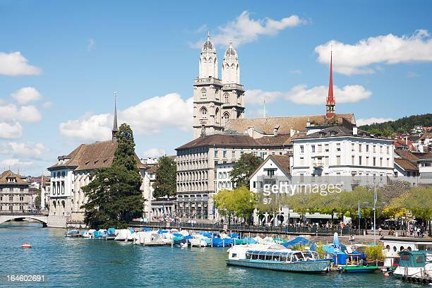 Grossmunster cathedral with river limmat.Zurich.