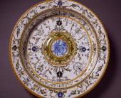Grotesque decorated plate and medallions depicting Cadmus and the Dragon ceramic Fontana workshop Urbino Marche Italy 15th century Florence Museo...
