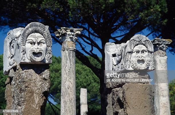 Grotesque masks Roman theatre at Ostia Antica Roman civilisation 1st century BC 2nd century AD