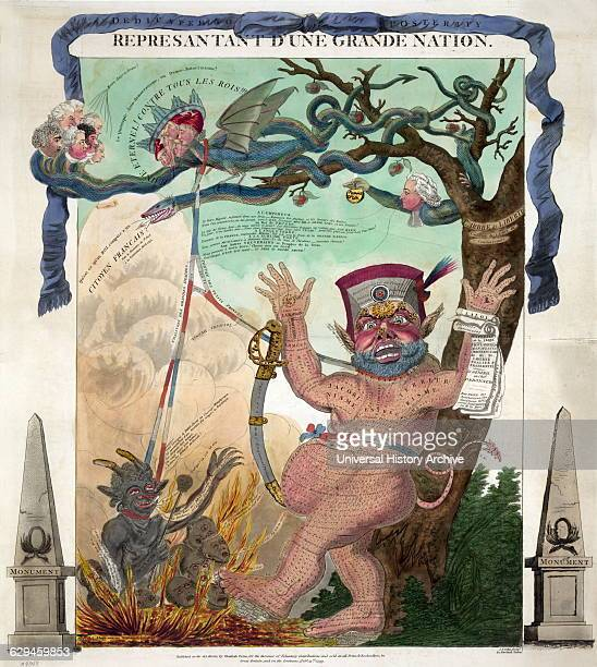 A grotesque monster nude and hairy representing the Constitution of the Year III stands against the trunk of L'Arbre de Liberté with upraised hands...