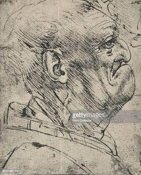 Grotesque Profile of a Man to the Right' c1480 From The Drawings of Leonardo da Vinci [Reynal Hitchcock New York 1945] Artist Leonardo da Vinci