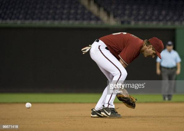 A ground ball gets past third baseman Jeff Flake RAriz in the Congressional Baseball Game at Nationals Stadium in Washington on Wednesday June 17 2009