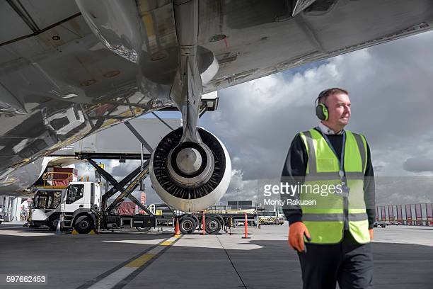 Ground crew engineer with A380 jet aircraft
