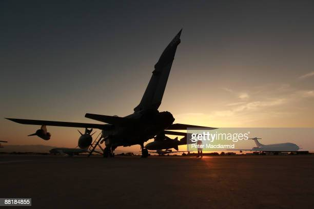 Ground crew prepare a Royal Air Force Tornado GR4 fighter bomber for return to the United Kingdom on June 3 2009 at RAF Akrotiri Cyprus British...
